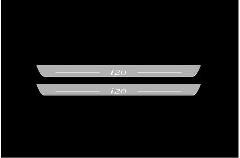 Накладки порогов с статической подсветкой для Hyundai I-20 c 2008