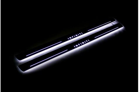 Накладки порогов с статической подсветкой для Infiniti FX 35 c 2008