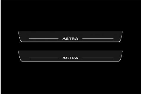 Накладки порогов с динамической подсветкой для Opel Astra H c 2004
