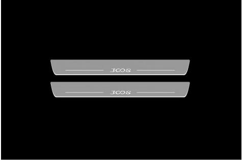 Накладки порогов с статической подсветкой для Peoguet 3008 c 2016