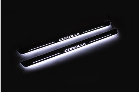 Накладки порогов с статической подсветкой для Toyota Corolla E170 c 2013