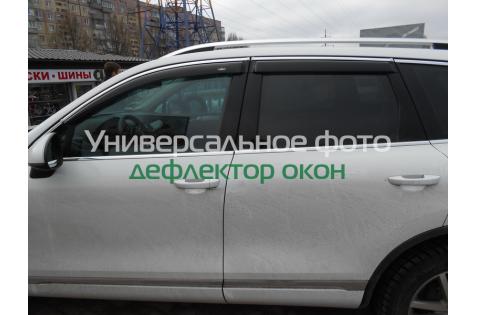 Ветровики для Toyota Highlander c хром молдингом с 2014