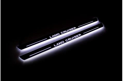 Накладки порогов с статической подсветкой для Toyota Land Cruiser 200 c 2007