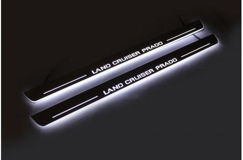 Накладки порогов с статической подсветкой для Toyota LC Prado 120 c 2003
