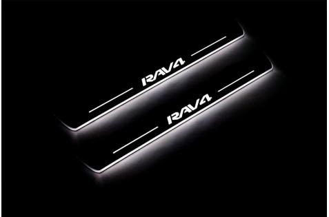 Накладки порогов с статической подсветкой для Toyota Rav-4 IV c 2013