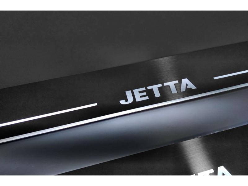 Накладки порогов с статической подсветкой для Volkswagen Jetta VI c 2011